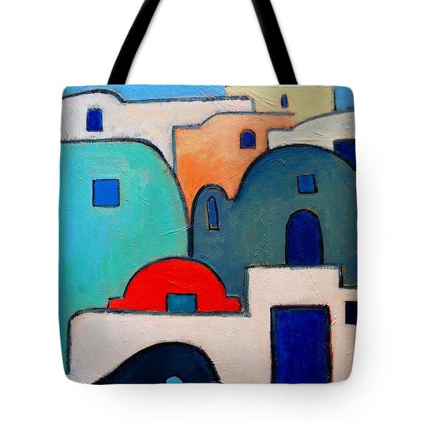 Santorini Cityscape Tote Bag by Ana Maria Edulescu