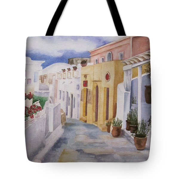 Santorini Cloudy Day Tote Bag