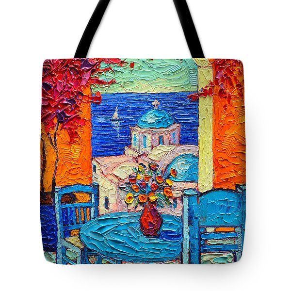 Santorini Dream Greece Contemporary Impressionist Palette Knife Oil Painting By Ana Maria Edulescu Tote Bag