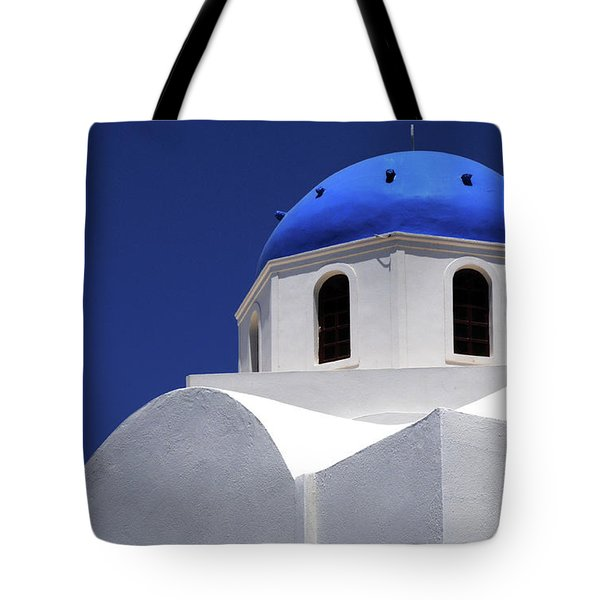 Tote Bag featuring the photograph Santorini Greece Architectual Line 2 by Bob Christopher