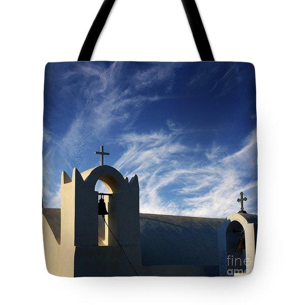 Santorini Greece Architectual Line 3 Tote Bag by Bob Christopher