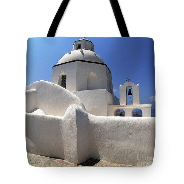 Santorini Greece Architectual Line 4 Tote Bag by Bob Christopher