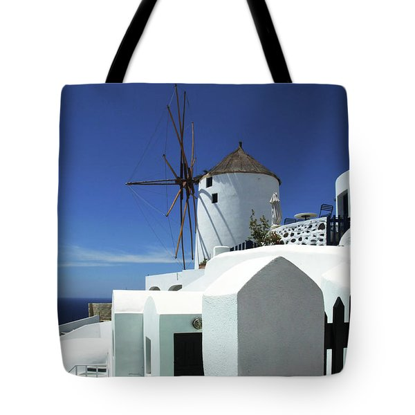 Tote Bag featuring the photograph Santorini Greece Architectual Line 5 by Bob Christopher