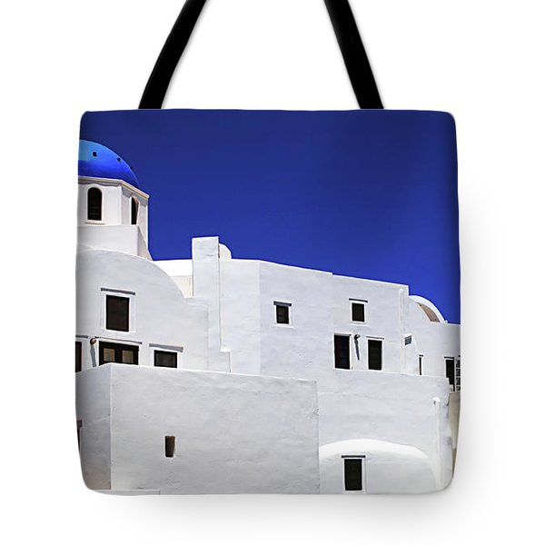 Santorini Greece Architectual Line 6 Tote Bag by Bob Christopher