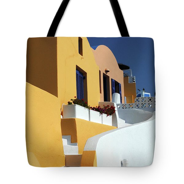 Tote Bag featuring the photograph Santorini Greece Architectual Line by Bob Christopher