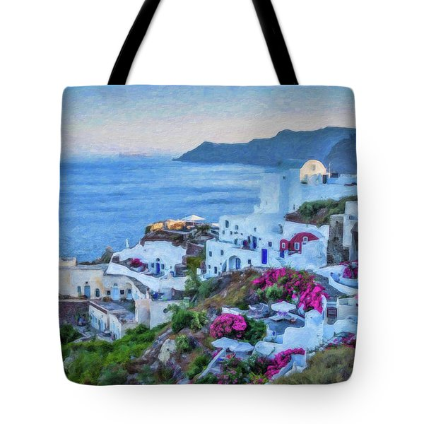 Santorini Greece Dwp416136  Tote Bag
