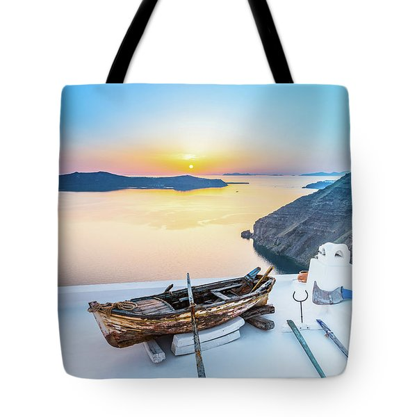 Santorini - Greece Tote Bag by Stavros Argyropoulos