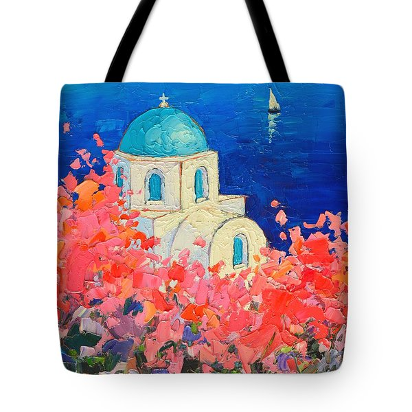 Santorini Impression - Full Bloom In Santorini Greece Tote Bag