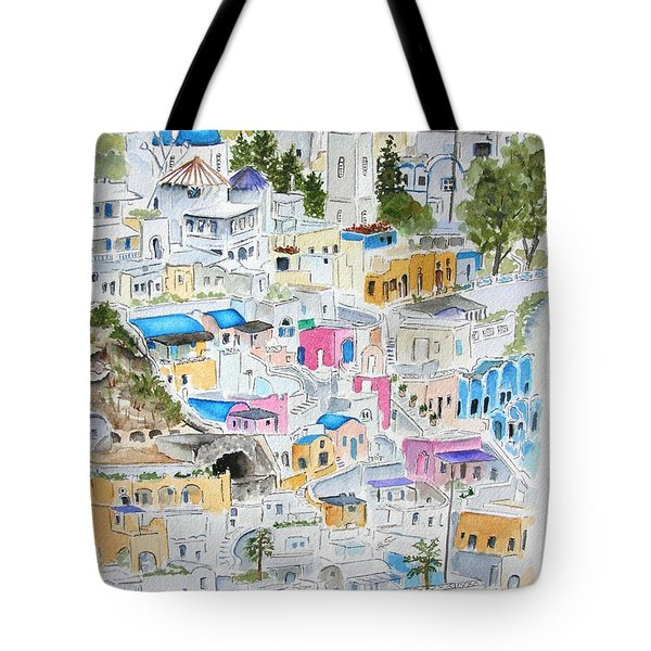 Tote Bag featuring the painting Santorini by Mary Kay Holladay