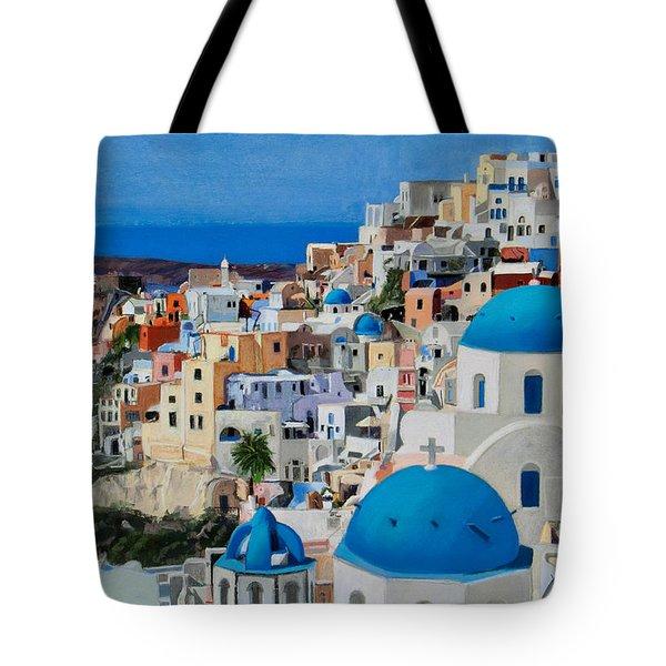 Santorini Tote Bag by Mary Susan Vaughn