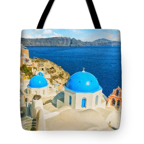 Santorini Oia Church Caldera View Digital Painting Tote Bag