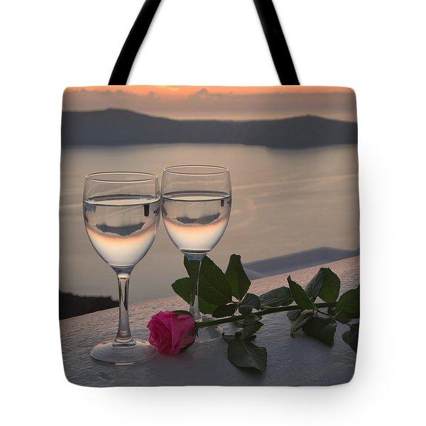 Santorini Romance Tote Bag