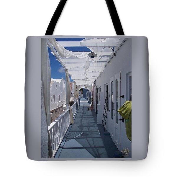 Santorini Walkway-greece Tote Bag