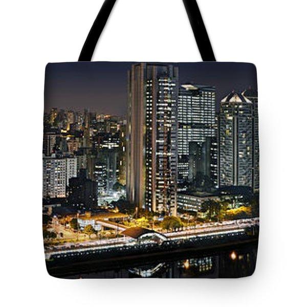 Sao Paulo Iconic Skyline - Cable-stayed Bridge  Tote Bag