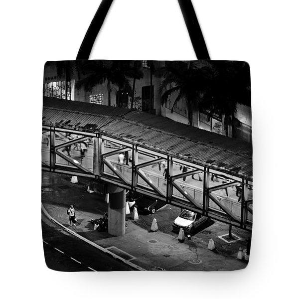 Sao Paulo - Metallic Footbridge At Night Tote Bag