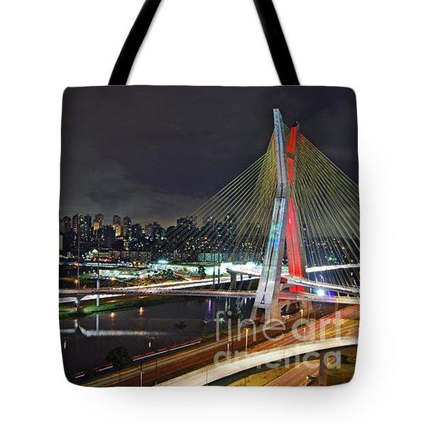 Sao Paulo Skyline - Ponte Estaiada Octavio Frias De Oliveira Wit Tote Bag