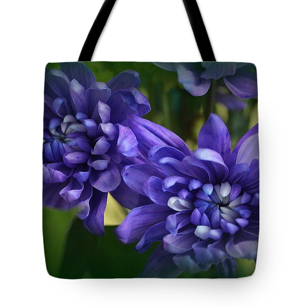 Sapphire Blue Chrysanthemums Tote Bag