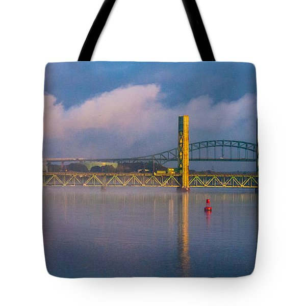 Sarah Long Bridge At Dawn Tote Bag