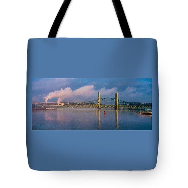 Sarah Long Bridge At Dawn Tote Bag