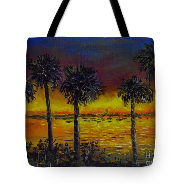 Tote Bag featuring the painting Sarasota Bayfront Sunset by Lou Ann Bagnall