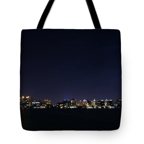 Sarasota Cityscape-night-full Moon Tote Bag