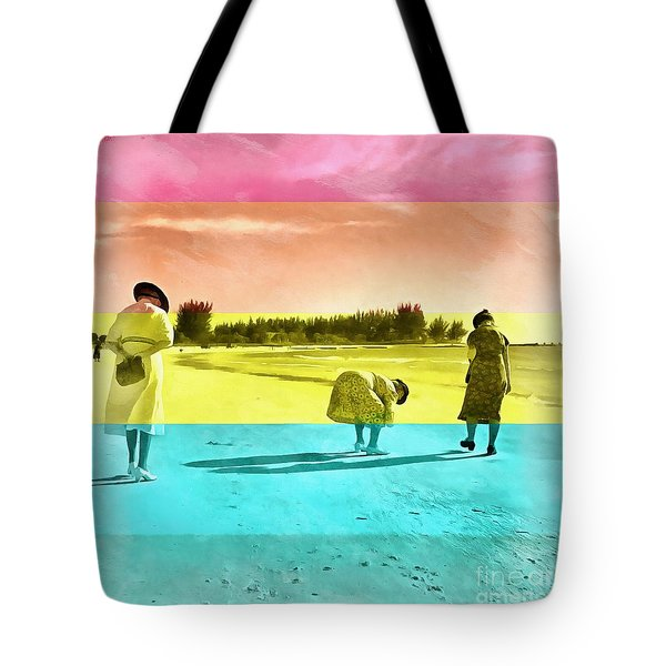 Tote Bag featuring the painting Sarasota Series Beachcombers by Edward Fielding