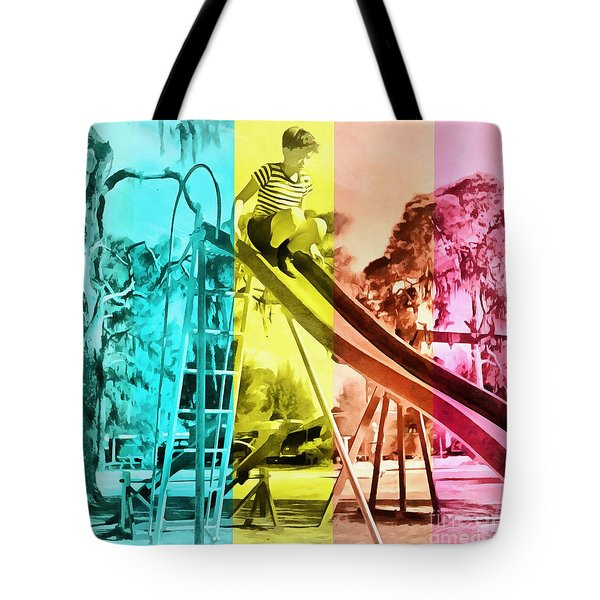 Tote Bag featuring the painting Sarasota Series Trailer Park Playground by Edward Fielding