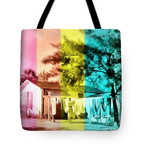 Tote Bag featuring the painting Sarasota Series Wash Day by Edward Fielding