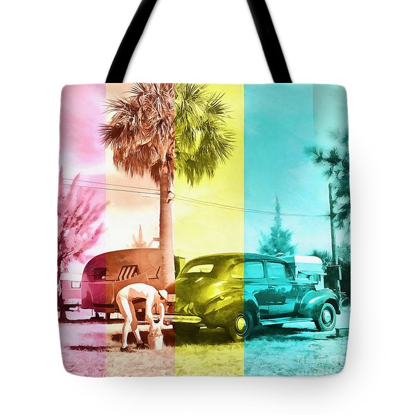 Tote Bag featuring the painting Sarasota Series Wash The Car by Edward Fielding