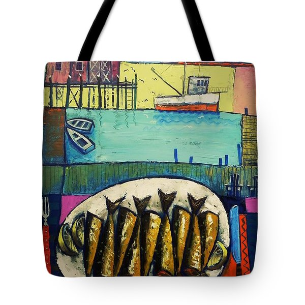 Tote Bag featuring the painting Sardines by Mikhail Zarovny