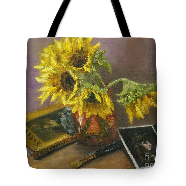 Tote Bag featuring the painting Sargent And Sunflowers by Lisa  Spencer
