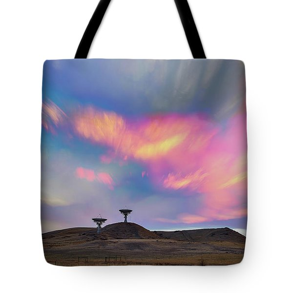Tote Bag featuring the photograph Satellite Dishes Quiet Communications To The Skies by James BO Insogna