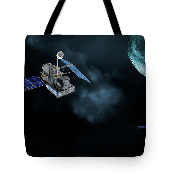 Satellites In Orbit Around The Moon Tote Bag