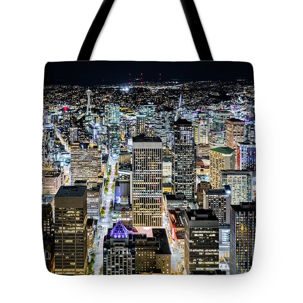 Tote Bag featuring the photograph Seattle Lights by Mihai Andritoiu