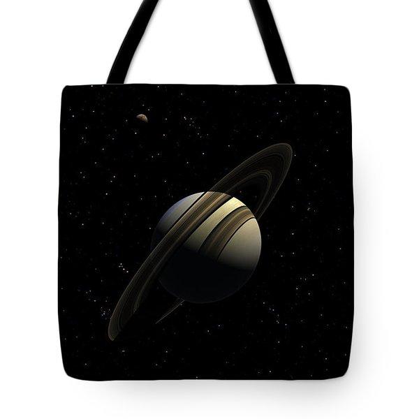 Saturn With Titan Tote Bag