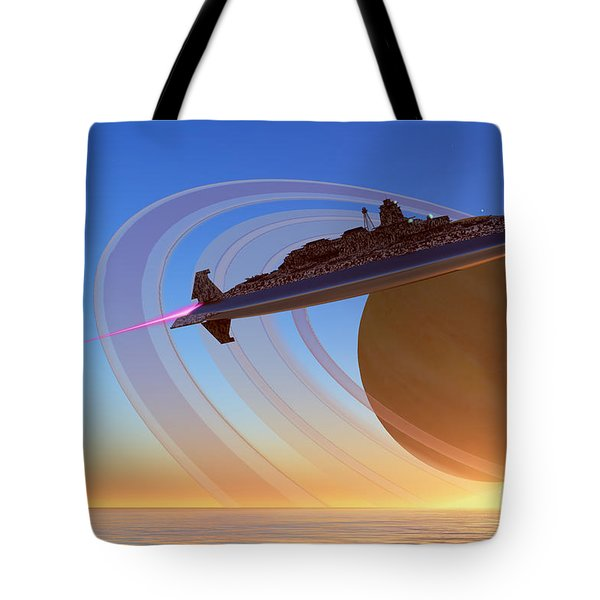 Saturn's Moon Tote Bag by Corey Ford