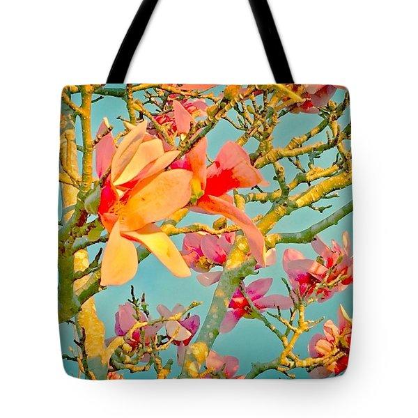 Saucer Magnolia Tote Bag by Angela Annas