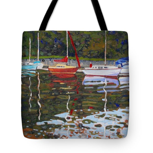 Saugeen Sailboats Tote Bag by Phil Chadwick