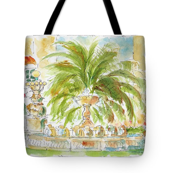 Tote Bag featuring the painting Sausalito Fountain by Pat Katz