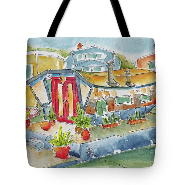 Tote Bag featuring the painting Sausalito Houseboat by Pat Katz