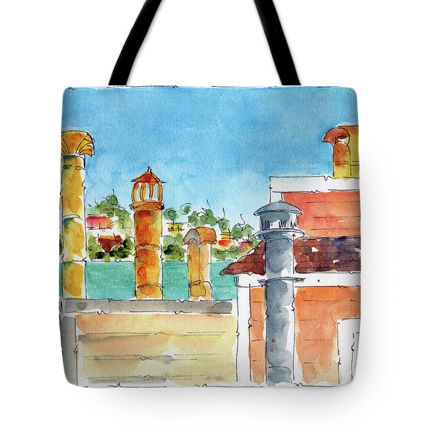 Tote Bag featuring the painting Sausalito Smokestacks by Pat Katz