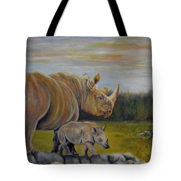Savanna Overlook, Rhinoceros  Tote Bag