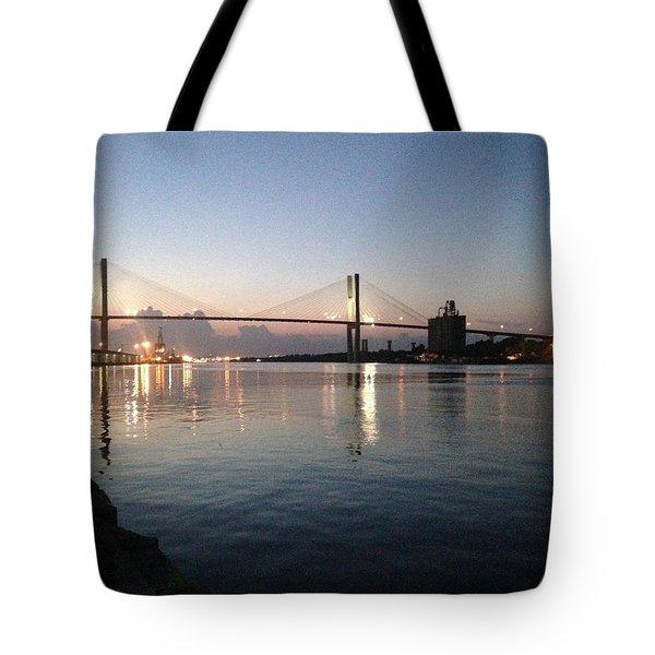 Savannah Bridge Evening  Tote Bag