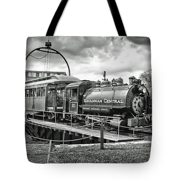 Savannah Central Steam Engine On Turn Table Tote Bag
