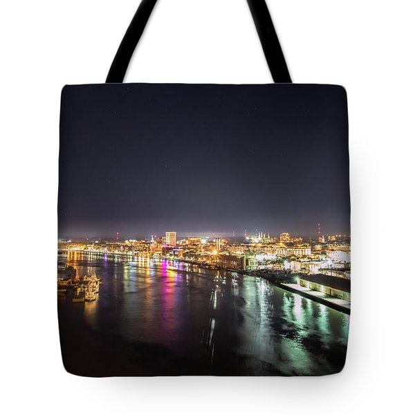 Savannah Georgia Skyline Tote Bag by Robert Loe