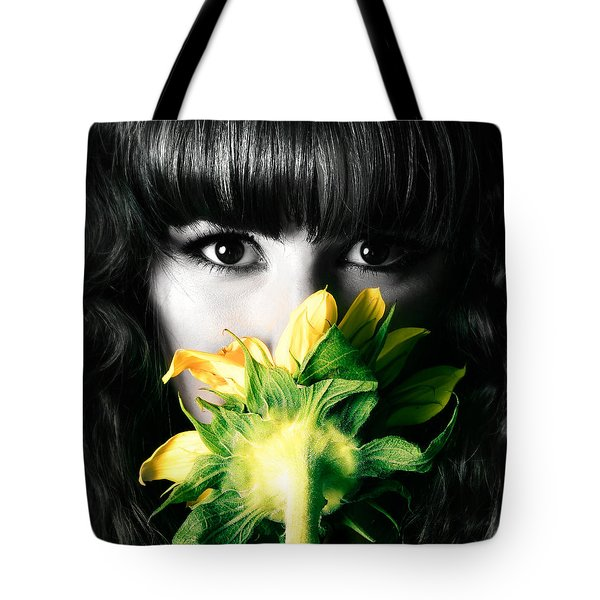 Tote Bag featuring the photograph Smile Sunflower Girl by Gregg Cestaro