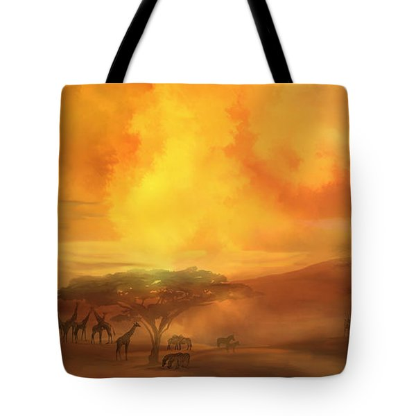 Tote Bag featuring the mixed media Savannah Landscape by Carol Cavalaris