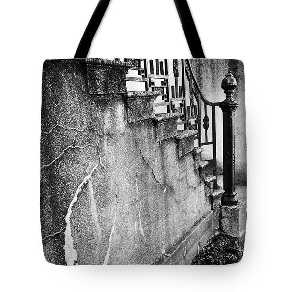Savannah Stairway Black And White Tote Bag by Renee Sullivan