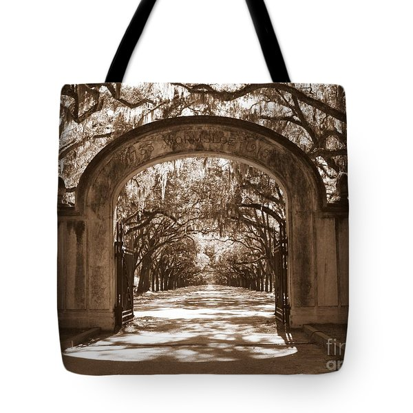 Savannaha Sepia - Wormsloe Plantation Gate Tote Bag