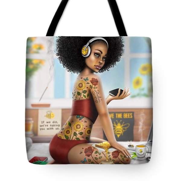 Tote Bag featuring the digital art Saving The Bees by Dedric Artlove W